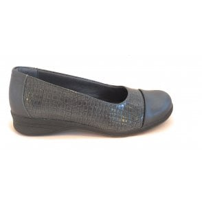 Beth Dark Grey Reptile Print Slip On Casual Shoes