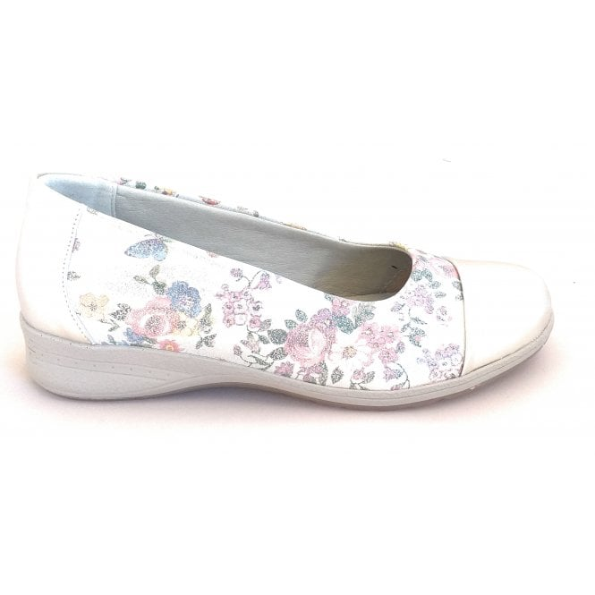 Suave Beth Silver Floral Print Slip On Casual Shoes