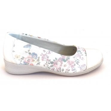 Beth Silver Floral Print Slip On Casual Shoes
