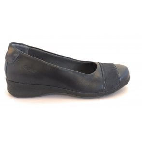 Bethany Navy Leather Slip On Shoes