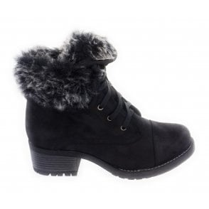 Bijou Black Lace-Up Ankle Boot