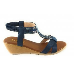 Bindi Navy Wedge Sandal