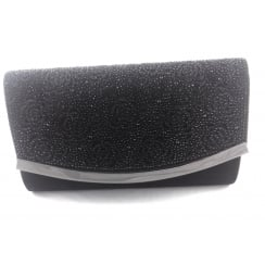 Bisante Black and Diamante Clutch Bag
