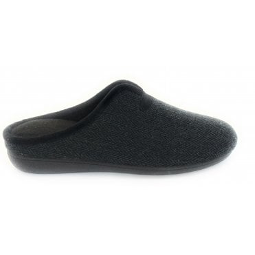 Black Albert Mens Mule Slippers