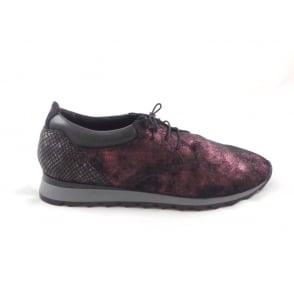 Black and Burgundy Metallic Nubuck Slip-On Shoe