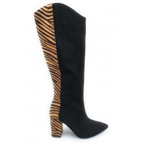 Black and Tan Zebra Print Grande Knee High Boots