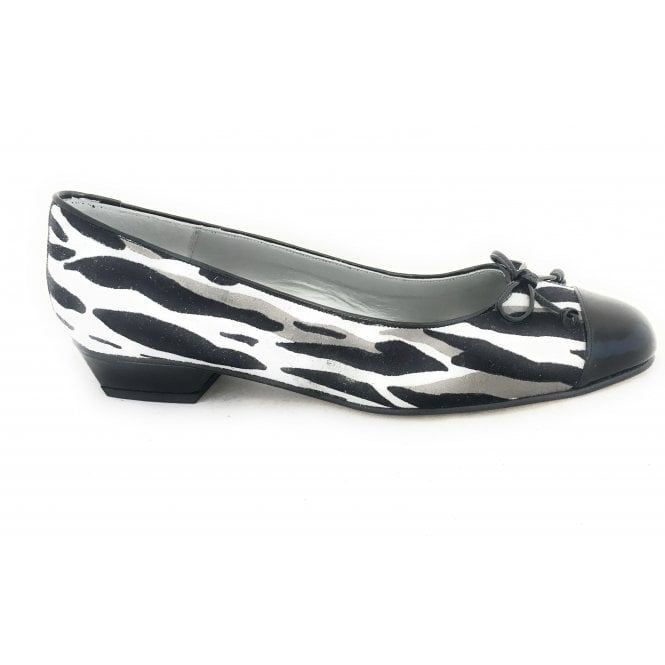 HB Black and White Print Suede Pump