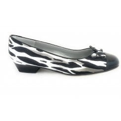 Black and White Print Suede Pump