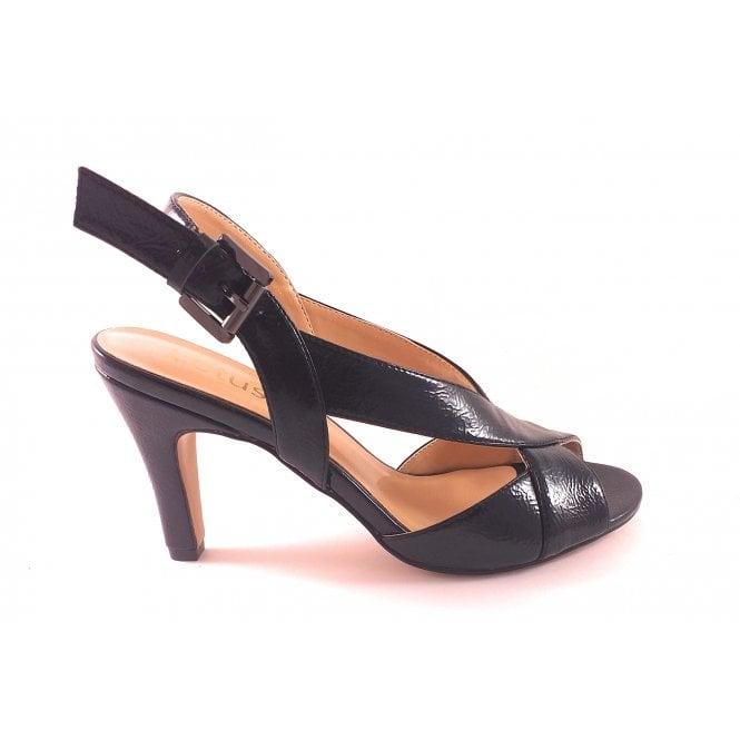 Lotus Black Crinkle Patent Open-Toe Sling-Back Sandal