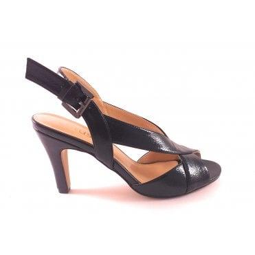 Black Crinkle Patent Open-Toe Sling-Back Sandal
