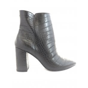 Black Croc-Print Soriano Ankle Boots