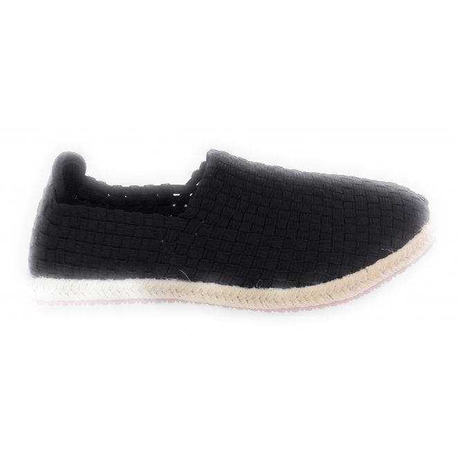 Lunar Black Elasticated Espadrille