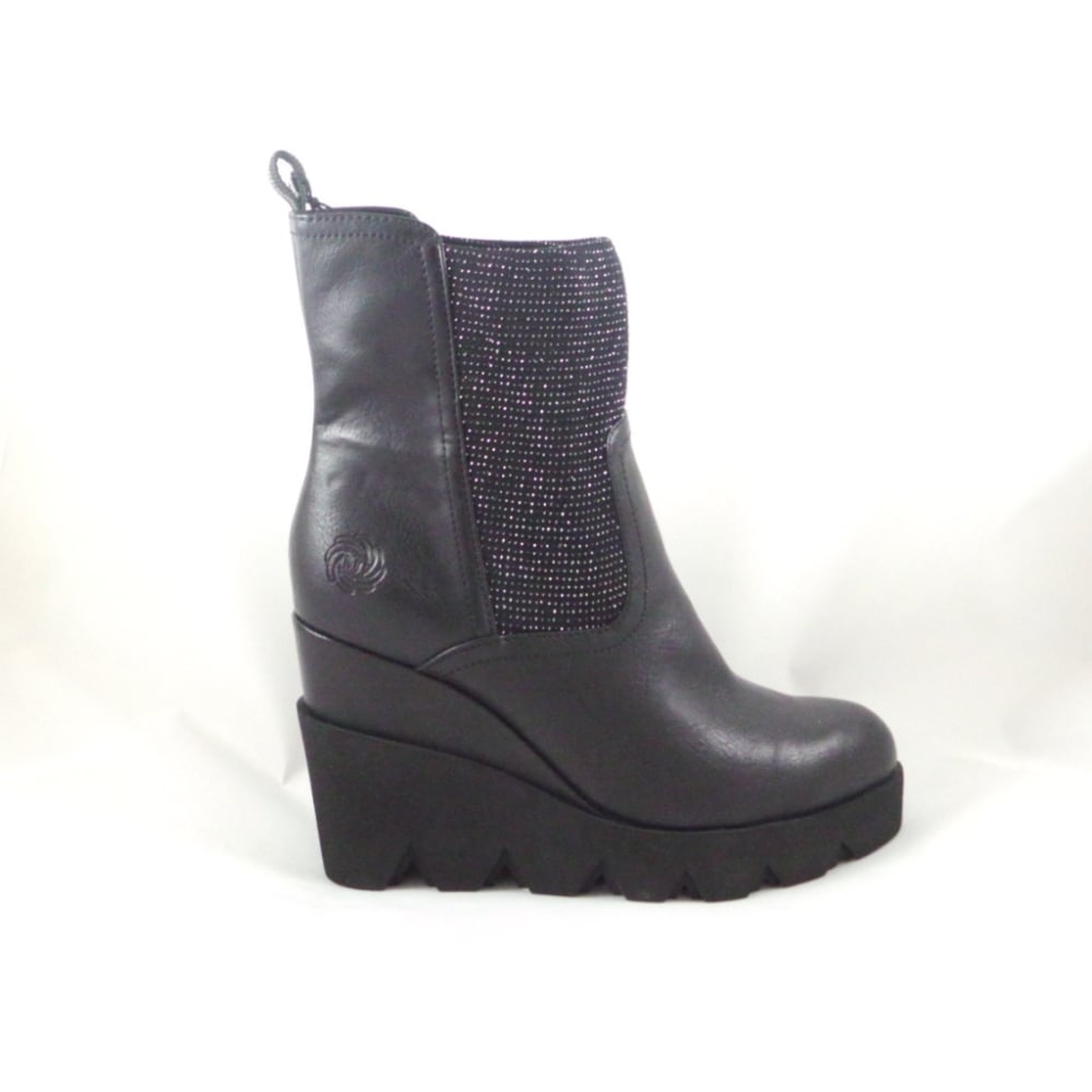 Kids Black Leather Wedge Knee Boots