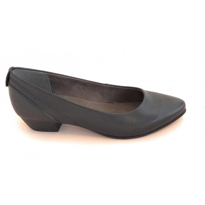 Jana Black Faux Leather Court Shoe
