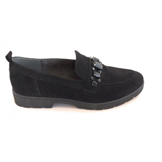 Jana Black Faux Suede Loafer