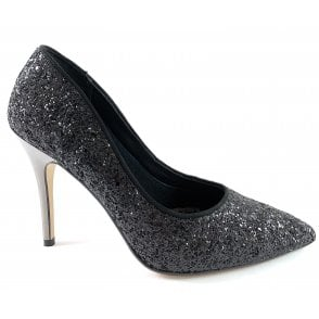 Black Glitter Court Shoe