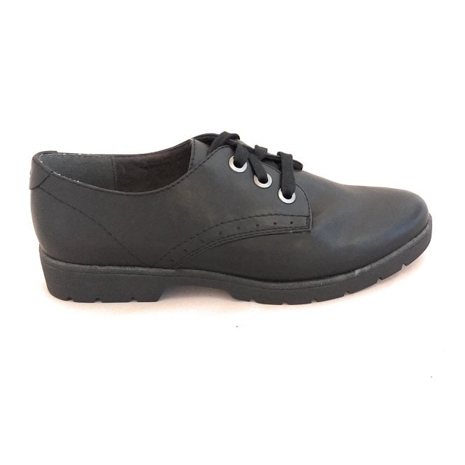 Jana Black Lace-Up Casual Shoe