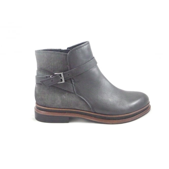 d000cad0608f6 Black Leather and Grey Suede Flat Ankle Boot - from size4footwear.com UK