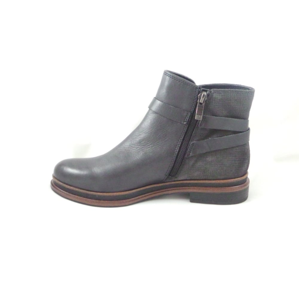 black leather and grey suede flat ankle boot from