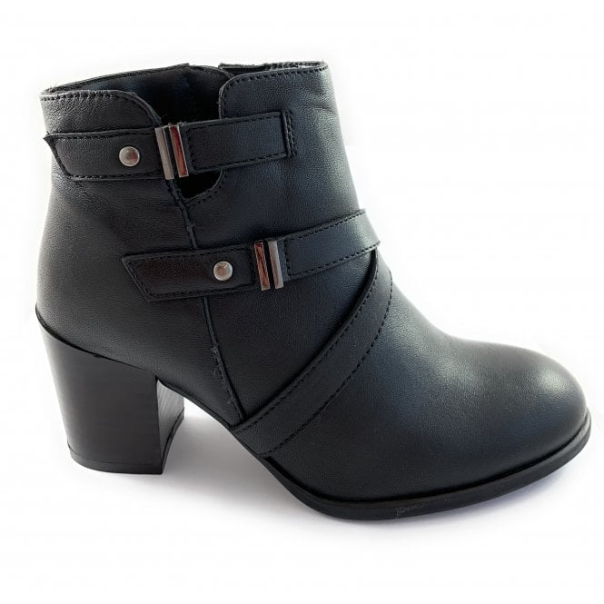 Lotus Black Leather Ankle Boot