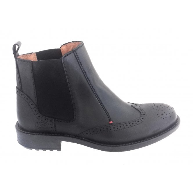 Softwalk Black Leather Brogue Chelsea Boot