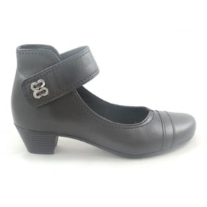 Black Leather Dolly Shoe