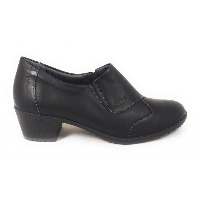 Suave Black Leather Heeled Slip-On Shoes