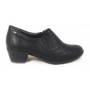 Black Leather Heeled Slip-On Shoes