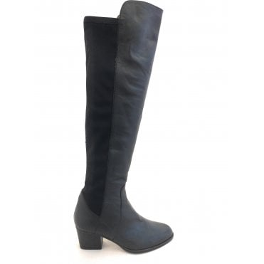 Black Leather Knee High Pull On Boots