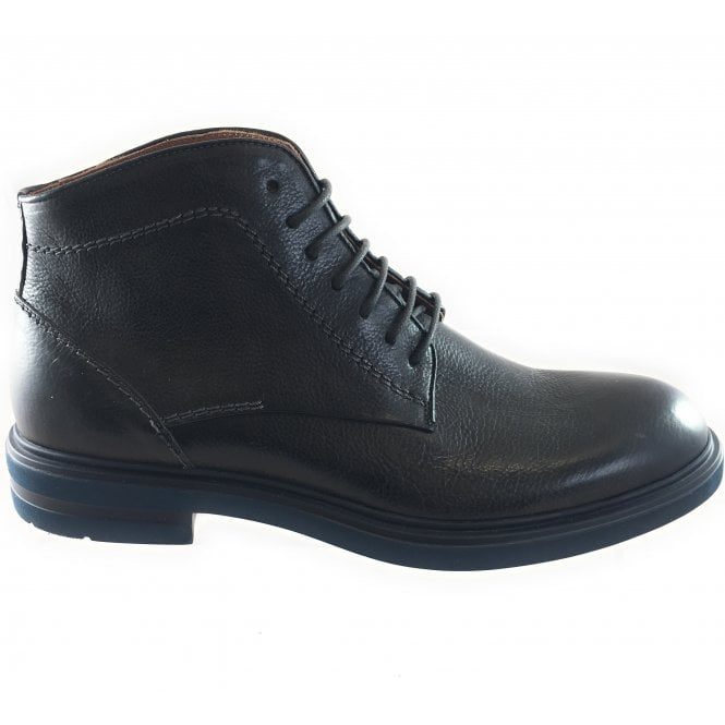 Black Leather Lace-Up Boot