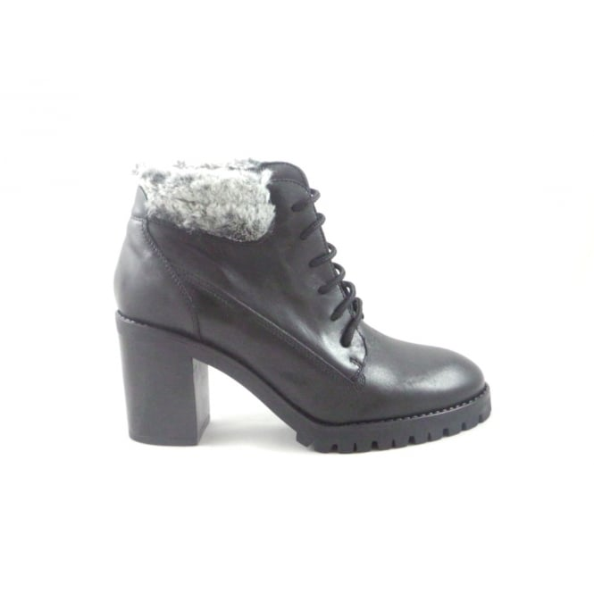 Black Leather Lace-Up Boot with Fur Trim