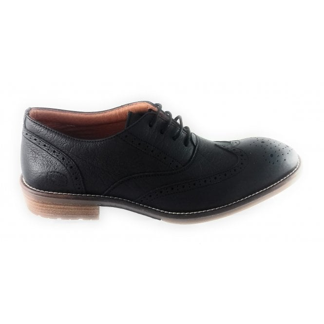 Softwalk Black Leather Lace-Up Brogue