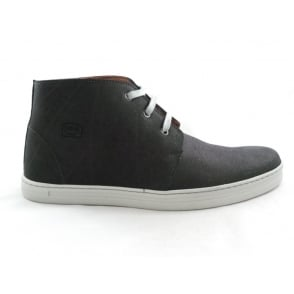Black Leather Lace-Up Casual Boot