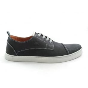 Black Leather Lace-Up Casual Shoe