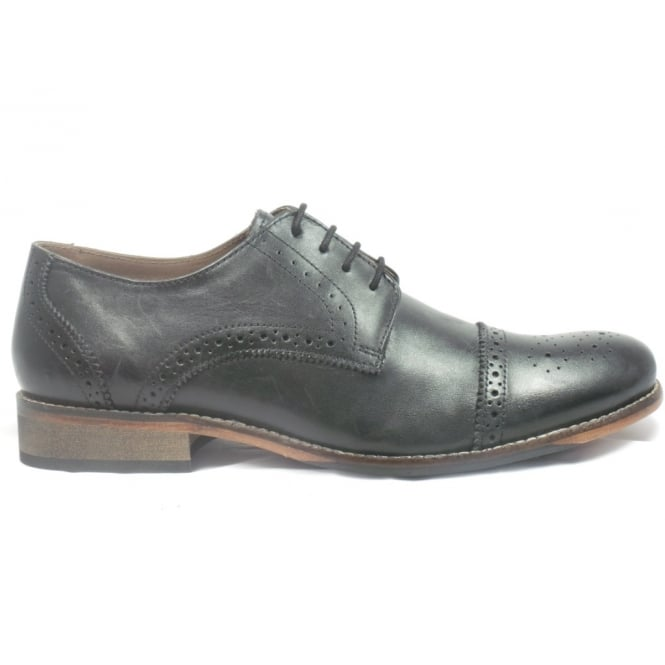 Lotus Black Leather Lace-Up Mens Brogue