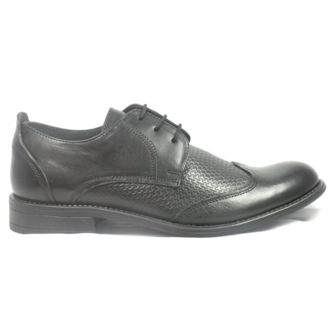 Lotus Black Leather Lace-Up Mens Shoe