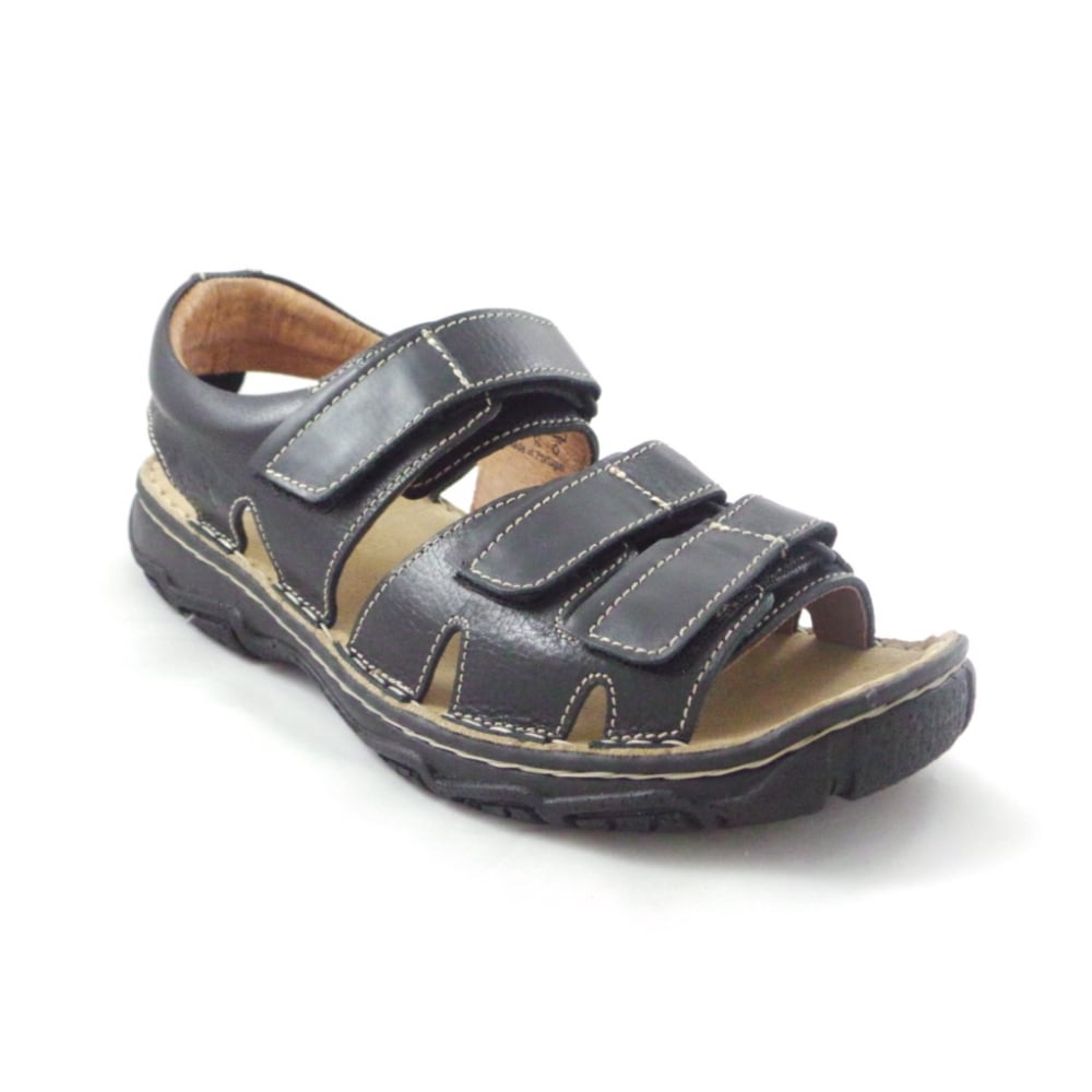 Softwalk Black Leather Mens Casual Sandal with Velcro ...
