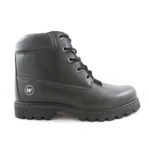 Black Leather Mens Leather Lace-Up Boot