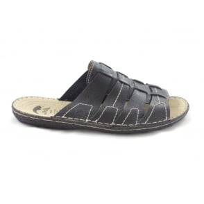Black Leather Mens Slip-On Casual Sandal