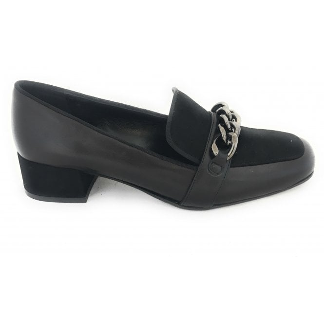 HB Black Leather Moccasin Court Shoe
