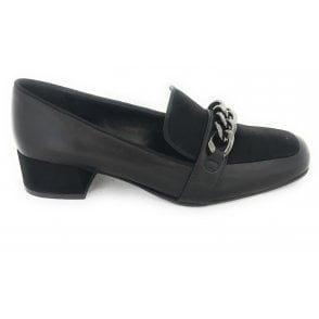 Black Leather Moccasin Court Shoe