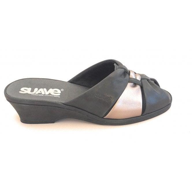 Suave Black Leather Mule Sandal
