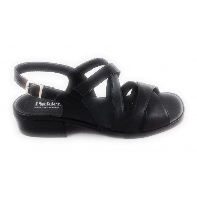 Padders Black Leather Open-Toe Sandal