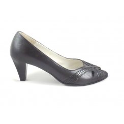 Black Leather Peep-Toe Court Shoe