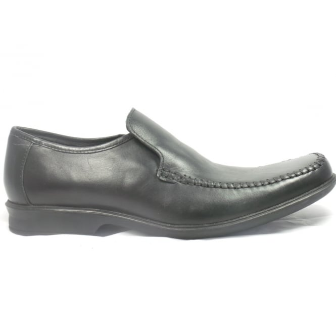 Lotus Black Leather Slip-On Mens Loafers