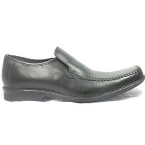 Black Leather Slip-On Mens Loafers