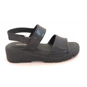 Black Leather Sporty Sandal