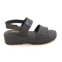 Black Leather Sporty Sandal