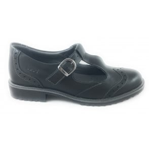 Black Leather T-Bar Casual Shoe