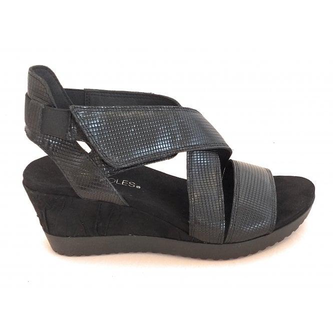 Aerosoles Black Leather Wedge Sandal